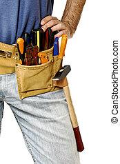 細部, の, toolbelt, 上に, handyman