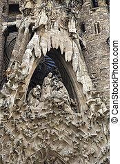 細部, バルセロナ, sagrada, 教会, familia, ファサド, nativity