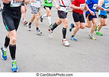 細部, 始めなさい, レース, マラソン, 足, ランナー