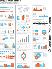 細部, infographics, set.