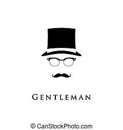 紳士, シルエット, 顔