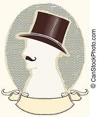 紳士, テキスト, 黒, スクロール, 帽子, ベクトル, 顔, 上, シルエット, mustache.