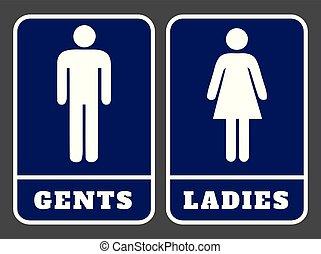 紳士, 印, 洗面所, 女性