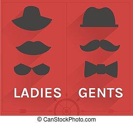 紳士, 女性, セット, 情報通
