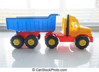 終わり, おもちゃのトラック, の上, ゴミ捨て場