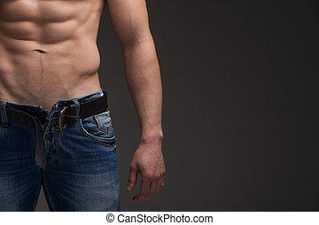 終わり, の, セクシー, 筋肉, 人, 中に, ジーンズ, そして, ヌード, torso., 上に立つ, 灰色,...