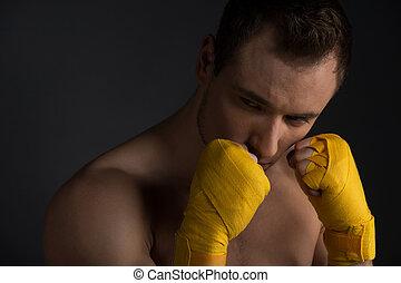 終わり, の, ハンサム, 若い, sportsman., 訓練, 武道, 目をそらす