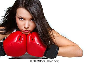 終わり, の, 女性, ボクサー