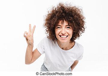終わり, の, 微笑, 若い女性, ∥で∥, 巻き毛の髪