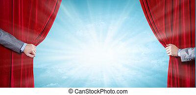 終わり, の, 手, 開始, 赤いカーテン