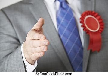 終わり, の, 政治家, 達すること, へ, 握手しなさい