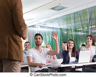 終わり, の, 教師, 手, 間, 教授, 中に, 教室