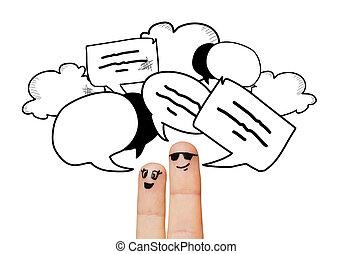 終わり, の, 2本の指, ∥で∥, コミュニケーション, 雲