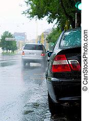 終わり, の, a, 自動車, 雨, ∥で∥, blurry 背景