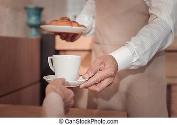 終わり, コーヒー, の上, カップ