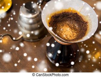 終わり, コーヒー, coffeemaker, ポット, の上
