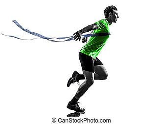 終わり, シルエット, ランナー, スプリンター, 勝者, 若い, 動くこと, 線, 人