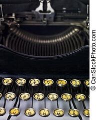 終わり, タイプライター, の上, 型