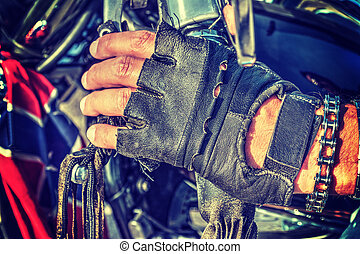 終わり, バイカー, 手袋, の上