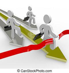 終わり, ビジネス 人々, レース, 線, 横切って