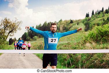 終わり, ランナー, nature., 競争, レース, 交差, 線, 人