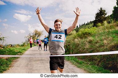 終わり, ランナー, nature., 若い, 競争, レース, 交差, 線, 人