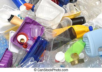 終わり, リサイクル, の上, プラスチック