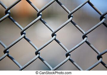 終わり, リンク, 鎖, フェンス, の上
