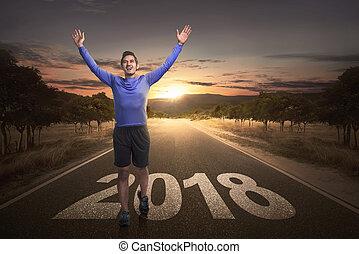 終わり, リーチ, 数, 通り, アジア 人, 幸せ, 2018