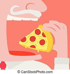 終わり, 人, 残さず食べる, ピザ