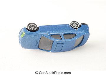 終わり, 古い, 青い車, おもちゃ, 隔離された, 白, バックグラウンド。, (selective, focus)