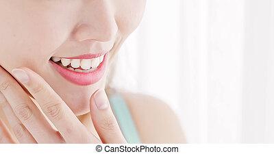 終わり, 女, の上, 歯