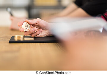 終わり, 手, bitcoin, 持ちこたえる