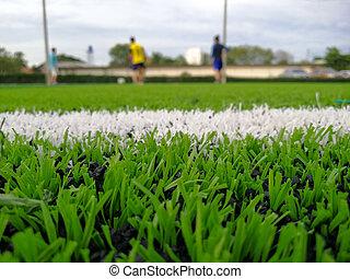終わり, 投球, astro, フットボール, の上, pitch., 泥炭, フィールド, area., 中に, surface., lushed, 蹴り, 緑, コーナー, 離れて