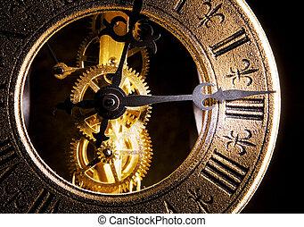 終わり, 時計, 古い, の上, 光景