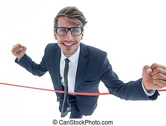 終わり, 朗らかである, 交差, ビジネスマン, 線, 赤