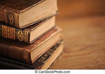 終わり, 本, 古い, の上