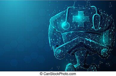 終わり, 概念, 医者, ロボット, 人工, 技術, stethoscope., ai., 知性, 医学, の上, 現代
