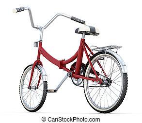 終わり, 白, 自転車, の上, 3d