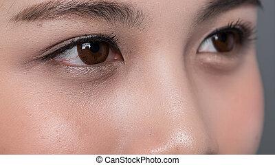 終わり, 目, 女性, の上, アジア人