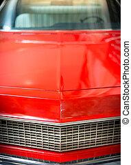 終わり, 細部, の, 光沢がある, 赤, クラシック, 車。