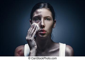 終わり, 肖像画, の, a, 叫ぶこと, 女, ∥で∥, 傷つけられる, 皮膚, そして, 黒 目