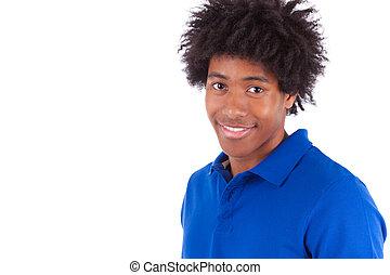終わり, 肖像画, の, a, 若い, african american 男, 隔離された, 白, 背景, -, 黒, 人々