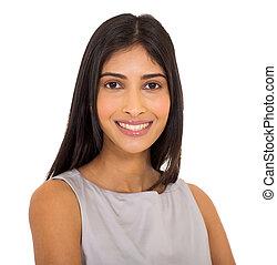 終わり, 肖像画, indian, の上, 女性実業家