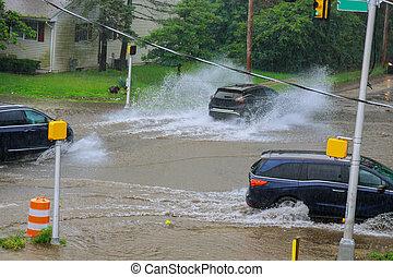 終わり, 自動車, 舗装, 重い, 通り, 雨, の上, 住宅の, あふれられる, はねる, の間, 都市, 水