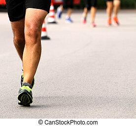 終わり, 足, 運動選手, o, 筋肉, 到来, 線, ∥に向かって∥, 最初に