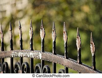 終わり, 金属, の上, フェンス