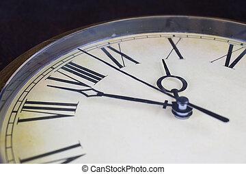 終わり, 顔, 光景, の上, 時計