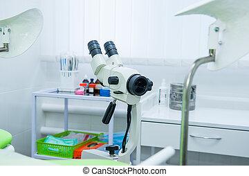 終わり, colposcope, 中に, 婦人科, room., 選択的な 焦点