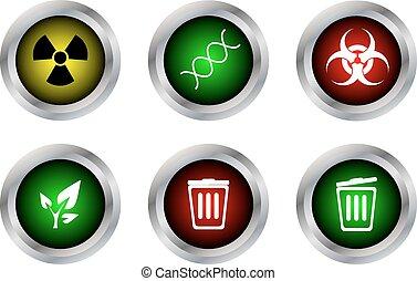 終わり, dna, 放射性, ベクトル, ボタン, 開いた, 大箱, biohazard, エコロジー, シンボル